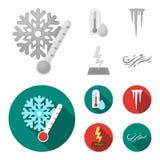 Υγρασία, παγάκια, κεραυνός, θυελλώδης καιρός Εικονίδια καιρικής καθορισμένα συλλογής στο μονοχρωματικό, επίπεδο απόθεμα συμβόλων  απεικόνιση αποθεμάτων