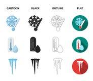 Υγρασία, παγάκια, κεραυνός, θυελλώδης καιρός Εικονίδια καιρικής καθορισμένα συλλογής στα κινούμενα σχέδια, ο Μαύρος, περίληψη, επ απεικόνιση αποθεμάτων