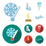 Υγρασία, παγάκια, κεραυνός, θυελλώδης καιρός Εικονίδια καιρικής καθορισμένα συλλογής στα κινούμενα σχέδια, επίπεδο απόθεμα συμβόλ απεικόνιση αποθεμάτων