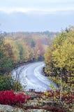 Υγρός κυρτός δρόμος στο εθνικό πάρκο Acadia Στοκ εικόνες με δικαίωμα ελεύθερης χρήσης