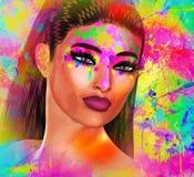 Υγρός παφλασμός χρωμάτων στο πρόσωπο γυναικών ` s ελεύθερη απεικόνιση δικαιώματος