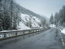 Υγρός χειμερινός δρόμος σε αλπικό Στοκ Εικόνα
