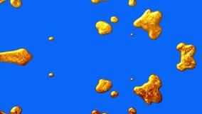 Υγρός χρυσός που διαλύει ή που εμφανίζεται εάν χρώματος στη βασική μπλε ζωτικότητα ποιοτικών μοναδική κινούμενων σχεδίων οθόνης ν διανυσματική απεικόνιση
