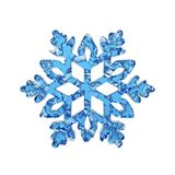 Υγρό διαφανές snowflake φιαγμένο από μπλε νερό κρυστάλλου που απομονώνεται στο άσπρο υπόβαθρο τρισδιάστατος δώστε απεικόνιση αποθεμάτων