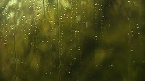 Υγρό εγχώριο παράθυρο με τις σταγόνες βροχής Πτώση βροχής νερού στο γυαλί απόθεμα βίντεο
