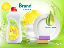 Υγρό σαπούνι πλυσίματος των πιάτων με το λεμόνι Συσκευασία με το σχέδιο ετικετών προτύπων ελεύθερη απεικόνιση δικαιώματος