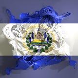 Υγρό σημαιών του Ελ Σαλβαδόρ διανυσματική απεικόνιση
