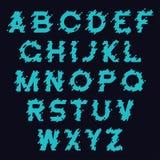 Υγρό σχέδιο πηγών Τυποποιημένο αλφάβητο με τον υγρό παφλασμό, τις πτώσεις και τις στρογγυλευμένες γραμμές Χαρακτήρας τυπογραφίας  απεικόνιση αποθεμάτων