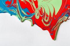 Υγρό marbling ακρυλικό υπόβαθρο χρωμάτων Ρευστό που χρωματίζει την αφηρημένη σύσταση Στοκ Φωτογραφίες