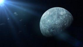 Υδράργυρος πλανητών στα αστέρια και αναμμένος από τον ήλιο Στοκ εικόνα με δικαίωμα ελεύθερης χρήσης