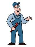 υδραυλικός που εμφανίζει σε κάτι γαλλικό κλειδί Στοκ Εικόνα