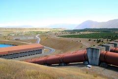 Υδρο σταθμός παραγωγής ηλεκτρικού ρεύματος κοντά σε Twizel Νέα Ζηλανδία Στοκ Φωτογραφία