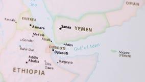 Υεμένη σε έναν χάρτη με Defocus απόθεμα βίντεο