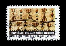 Υλικό από σε όλο τον κόσμο - Πολυνησία, τέχνη serie, circa 2 Στοκ Φωτογραφία
