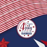 Υλικό και στοιχείο πώλησης για το τέταρτο ημέρα της ανεξαρτησίας Ιουλίου των Ηνωμένων Πολιτειών Σχέδιο για το έμβλημα, τη διαφήμι απεικόνιση αποθεμάτων