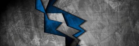 Υλικό μπλε και γκρίζο έμβλημα Ιστού τεχνολογίας Grunge Στοκ Εικόνες