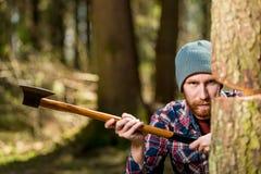 Υλοτόμος με έναν κορμό τσεκουριών και δέντρων, εστίαση Στοκ Φωτογραφίες
