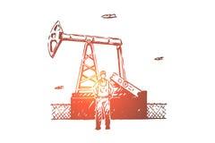 Υπάλληλος εγκαταστάσεων καθαρισμού πετρελαίου, επιχείρηση μεταλλείας των πόρων, βιομηχανικός εργαζόμενος συντήρησης εξοπλισμού, ε διανυσματική απεικόνιση