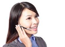 Υπάλληλος τηλεφωνικών κέντρων που φορά την κάσκα Στοκ Εικόνες