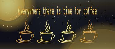 Υπάρχει πάντα χρόνος για τον καφέ έμβλημα για το χρόνο διαλειμμάτων Στοκ Εικόνες