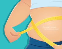 Υπέρβαρη, παχιά κλίμακα χρήσης προσώπων για να μετρήσει το waistline του με την μπλε διανυσματική απεικόνιση eps10 υποβάθρου διανυσματική απεικόνιση