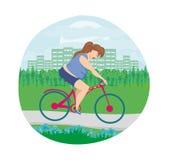 Υπέρβαρος γύρος γυναικών στο ποδήλατο διανυσματική απεικόνιση