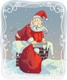 Υπέρβαρο Santa που κολλιέται στην καπνοδόχο ελεύθερη απεικόνιση δικαιώματος