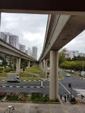 Υπέργεια γραμμή μαζικής γρήγορη διέλευσης στη Σιγκαπούρη Στοκ Φωτογραφία