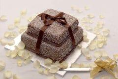 Υπέροχα παγωμένο γαμήλιο κέικ με την άσπρη και καφετιά τήξη στοκ εικόνες