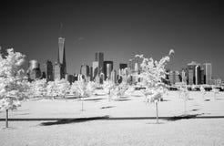 Υπέρυθρη εικόνα του Λόουερ Μανχάταν από το πάρκο ελευθερίας Στοκ Εικόνα