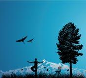 υπαίθρια γυναίκα δέντρων Στοκ φωτογραφία με δικαίωμα ελεύθερης χρήσης