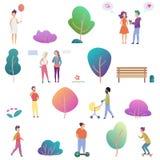 Υπαίθρια δραστηριότητα θερινών ανθρώπων στα εικονίδια πάρκων καθορισμένα Σύγχρονη διανυσματική απεικόνιση σχεδίου κλίσης επίπεδη ελεύθερη απεικόνιση δικαιώματος