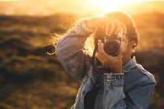 υπαίθρια εικόνα που παίρν&eps Στοκ Εικόνες