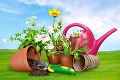 υπαίθρια θερινή εργασία κηπουρικής εξοπλισμού Στοκ Εικόνες