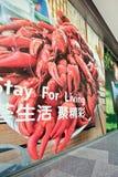 Υπαίθρια διαφήμιση, σε μια λεωφόρο αγορών, Πεκίνο, Κίνα Στοκ Φωτογραφίες