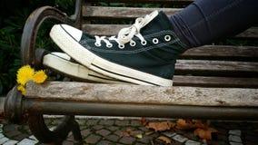 Υπαίθρια πάνινα παπούτσια σε έναν πάγκο Στοκ Εικόνες