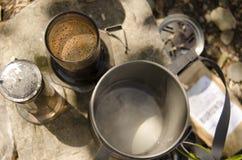 Υπαίθρια προετοιμασία του καφέ Στοκ Εικόνα