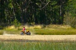 Υπαίθρια πρόσωπο παιδιών τοπίων φύσης που οδηγεί ένα πράσινο δασικό υπόβαθρο περιβάλλοντος μηχανοκίνητων οχημάτων στοκ εικόνες με δικαίωμα ελεύθερης χρήσης