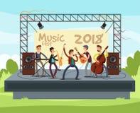Υπαίθρια συναυλία θερινού φεστιβάλ με την παίζοντας μουσική ζωνών μουσική ποπ υπαίθρια στη διανυσματική απεικόνιση σκηνών διανυσματική απεικόνιση