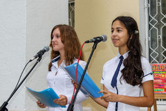 Υπαίθρια συναυλία παιδιών στην περιοχή Gomel της Δημοκρατίας της Λευκορωσίας Στοκ Φωτογραφία