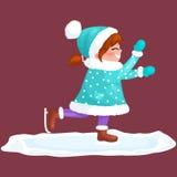 Υπαίθριος πάγος πατινάζ κοριτσιών που απομονώνεται, δραστηριότητα χειμερινών διακοπών διασκέδασης, Χαρούμενα Χριστούγεννα διανυσματική απεικόνιση