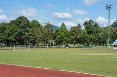 Υπαίθριο γήπεδο ποδοσφαίρου με το δέντρο Στοκ Εικόνες