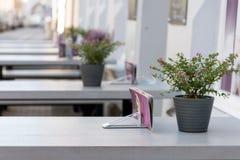 Υπαίθριο εστιατόριο με τους γκρίζους πίνακες και το ρόδινο πορφυρό ντεκόρ λουλουδιών Στοκ φωτογραφίες με δικαίωμα ελεύθερης χρήσης