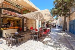 Υπαίθριο εστιατόριο στην περιοχή Muristan, Ιερουσαλήμ Στοκ Εικόνες