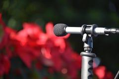 Υπαίθριο μικρόφωνο που δείχνει αριστερά στοκ φωτογραφίες