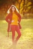Υπαίθριο πορτρέτο της όμορφης redhead γυναίκας Στοκ Φωτογραφίες