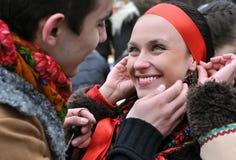 Υπαίθριο πορτρέτο δύο ουκρανικών νέων Στοκ Φωτογραφία