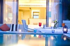 υπαίθριο ρομαντικό δωμάτιο jaccuzi Στοκ εικόνα με δικαίωμα ελεύθερης χρήσης