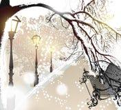 Υπαίθριο τοπίο Χριστουγέννων με το χιόνι, την οδό, τους λαμπτήρες και το πάρκο benc Στοκ Εικόνες