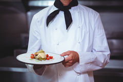 Υπερήφανος αρχιμάγειρας που κρατά ένα πιάτο στοκ φωτογραφίες με δικαίωμα ελεύθερης χρήσης